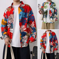 Men's Long Sleeve Floral Shirt Casual Ethnic Printed Loose Hawaiian Collar Tops