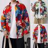 Men's Long Sleeve Floral Shirt Casual Ethnic Printed Loose Hawaiian Collar Tops