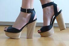 Shellys London Plateau Sandalen schwarz Leder EU 38 Neu UVP 130€