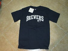 MILWAUKEE BREWERS MENS T SHIRT (SM) BY (MAJESTIC) NWT $26 NAVY BLUE