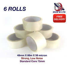 Clear Parcel Packing Tape Size 48mm*66m*56mic, Strong, Low Noise (6 Rolls)