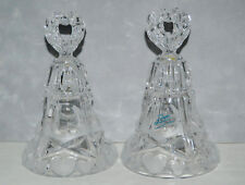 Vintage Pair of Price Creation 24% Lead Crystal Bells With Frosted Hearts