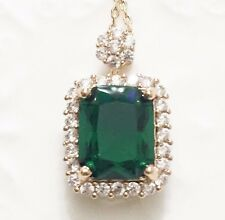 "Green Emerald Round Diamond Halo Pendant Necklace 18"" Chain Women Jewelry Gift"