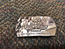 Original US Navy Air Traffic Controller (AC) Rate Silver Belt Buckle Military