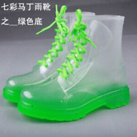 Fashion Women Clear Jelly Rain Boots Low Ankle Flat Rubber Shoes Rainshoes