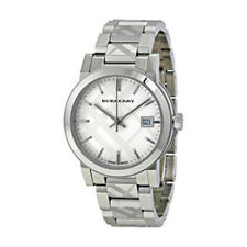100% New Burberry BU9144 Silver Check Stamped Stainless Steel Women's Watch