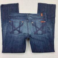 7 For All Mankind Womens Straight Leg Jeans Blue Medium Wash Stretch USA 29