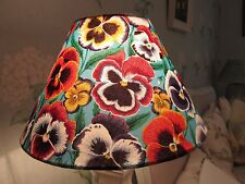Handmade Coolie Lampshade Pansy blue fabric 25cm