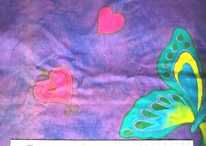 "Purple Hearts & Butterflies Print Fabric - Fat Quarter - 46cmx56cm 18""x22"""