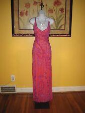 NWOT  Cache Pure Silk Bead Trim Purple/Orange Formal Gown Size S