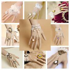 Bracelet Ring Handmade Lace Jewelry Adjustable Victorian Bridal