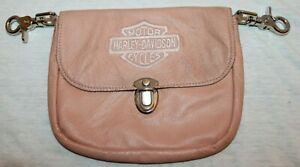 Harley Davidson Motorcycles Womens Pink Leather Hip Bag Purse Riding Bag Clip On