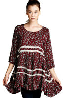 JODIFL Womens Peasant Flowy Boho 3/4 Sleeve Bohemian Chic Casual Dress  S M L
