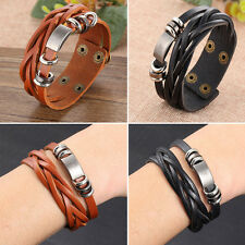Tribal Men's Women Unisex Jewellery Surfer Wrap Multilayer Leather Cuff Bracelet