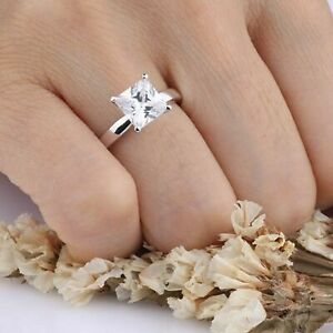 5Ct Diamond Engagement Ring in 14K White Gold Over Womens Diamond Wedding Rings
