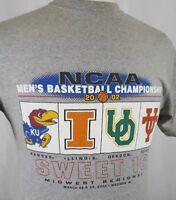NCAA Basketball 2002 Sweet 16 Regional Kansas Illinois Oregon Texas T-Shirt Sz M