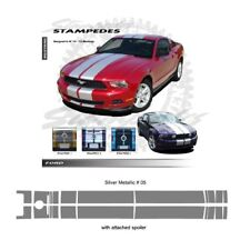 Ford Mustang 2010-2012 w/ Lip Spoiler Ralley Stripes Graphic Kit Metallic Silver