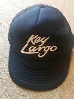 Key Largo Black Snapback Flatbill Trucker Hat 1990s 90s Vintage VTG Mesh