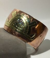 "Vtg MEXICO METALES CASA DOS Abalone Inlay Aztec Cuff Bracelet 7.5"" Inner"