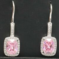 2CT Emerald Cut Pink Sapphire Dangle Earrings Women Birthday Jewelry Gold Plated