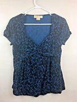 Michael Kors Womans Petite Top Size P/M Blue S/Sleeve Umpire Waist (5)