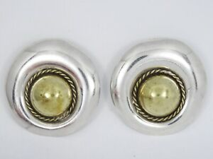 """VINTAGE MASSIVE 60's Signed CARLO MEXICO MODERNIST STERLING EARRINGS ~ 1 7/8"""""""