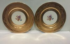 A Pair of H&C Heinrich & CO. Selb Bavaria Gold Encrusted Dinner Plates
