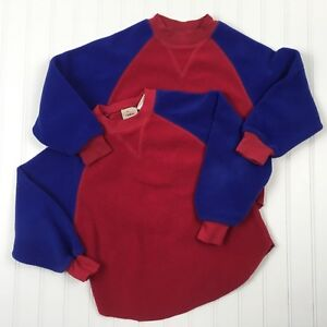 L L Bean kids Fleece Shirt 5 6 Boys Girls Lot of 2 Red Blue Pajama Top
