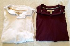 Lot of 2 Tommy Bahama Short Sleeve Polo Rugby Shirts Large White/Maroon