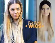 DELUXE AMBER LE BON LONG BLACK BLONDE OMBRE ROOTED HEAT RESISTANT FASHION WIG