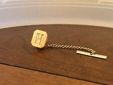 H Monogram Vintage Tie Tac Gold Tone