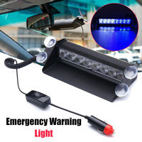 12V 8 LED Blue White Dash Strobe Lights Car Truck Warning Emergency Flash Lamp