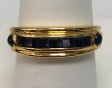18k Yellow Gold Square Sapphires & 2 Cab Sapph Band Ring Made In Italy Sz 6.5