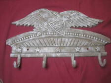 "Vintage American Bald Eagle Wall Coat Rack Cast Iron Horse 14"" x 9"" EUC"