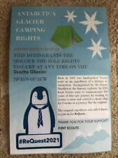 CAMPING RIGHTS TO YOUR OWN ANTARCTIC GLACIER + SHACKLETON THE PENGUIN BADGE