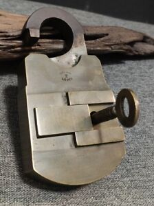 Rare Antique COTTERILL Padlock Brass English Lock LOCKWOOD Sheffield Well Marked