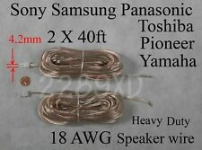 2 40ft speaker cable/wires 18AWG made for select 4.2mm Sony/Samsung/Panasonic HT