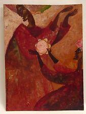 Dessin Huile Folklore Femmes Tambourin PIERRE-HENRI BOUSSARD Sard #18 Art Naïf
