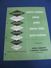 UNARCO 1950's Catalog Union Asbestos & Rubber Co Packing Insulations Gaskets