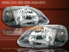 99-00 Honda Civic EK EK9 Crystal Headlights Gun Metal 2/3/4 Doors