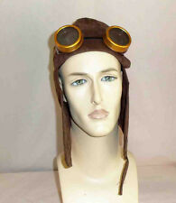 Steampunk Sci-Fi Cosplay 2 Pc Brown Faux Suede Aviator Helmet and Brown Goggles