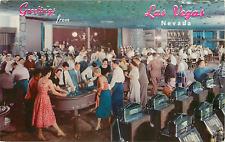 LAS VEGAS NV FLAMINGO HOTEL/CASINO GAMBLING ROOM CHROME POSTCARD