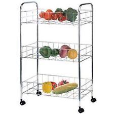 3 Tier Kitchen Trolley Chrome Rack Holder Vegetables Fruits Floor Standing New