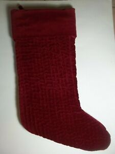"""Pottery Barn Red Channel Quilted Velvet Holiday Christmas Stocking 19"""" #8469"""