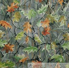 BonEful Fabric FQ Cotton Quilt Brown Gray Green Wood Leaf Forest Tree Camo Hunt