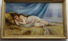 American Antique Oil Painting Woman Dallas Texas Signed by E Watson C 1920