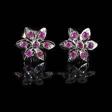 Natural Ruby Earrings 13mm Flower Beautiful Red 1.5mm Rubies 925 Sterling Silver
