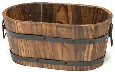 Outdoor Garden Planter, Lawn Wooden Flower Plant Pot Cedar Decor Whiskey Barrel