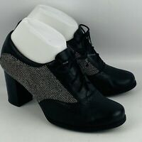Womens 7.5M Clarks Claeson Pearl Oxford Shoes Black Leather Tweed Fabric Heels