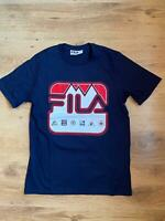 Fila Mens Round Neck Short Sleeve Cotton Navy Blue T shirt Top Tee S M L XL 2XL